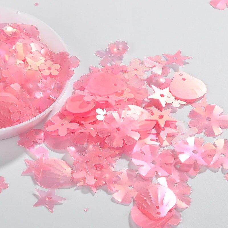 10 g/paquete mate Rosa mezcla flor ciruela estrella Shell formas PET escamas taza suelta lentejuelas Paillettes accesorios de costura y boda confeti