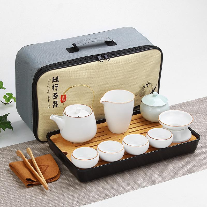 طقم شاي الكونغ فو الصيني للسفر ، إبريق شاي سيراميك للمنزل ، أكواب شاي Gaiwan ، حفل شاي مع حقيبة سفر للهدايا
