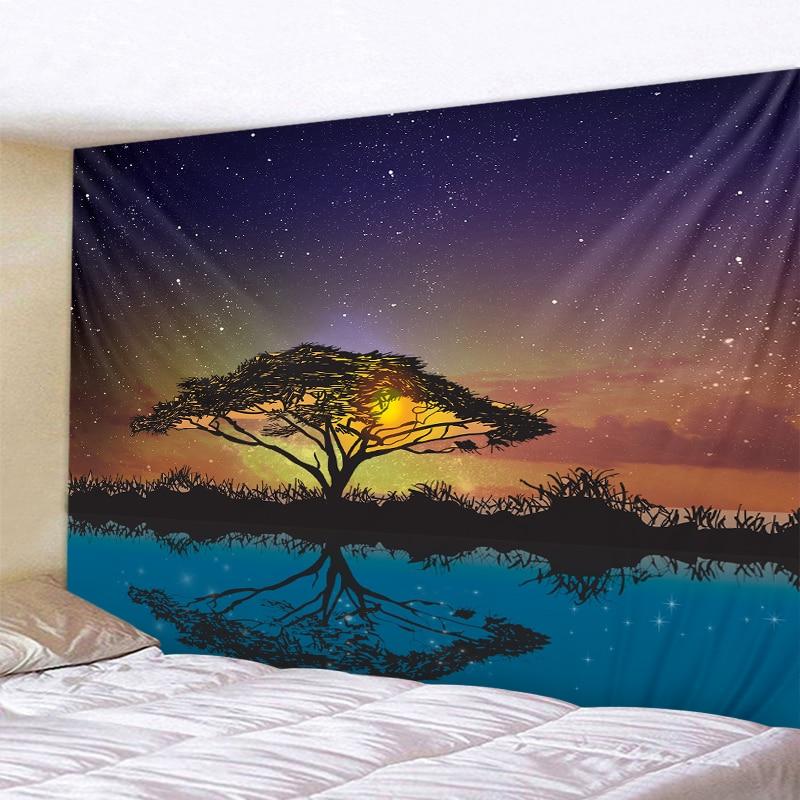 Hermoso árbol de reflexión impreso tapiz de pared grande barato Hippie colgante de pared bohemio tapices de Mandala Arte de la pared Decoración