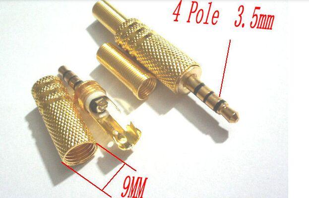 10 unids oro لوحة soldadura ستيريو 4 القطب ذكر 1.8