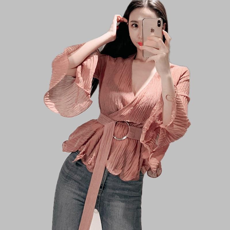 HAMALIEL coreano 2019 verano Mujer Flare manga camisas Feminina moda Chiffon volantes Sexy cuello en V blusa delgada encaje arriba camisetas