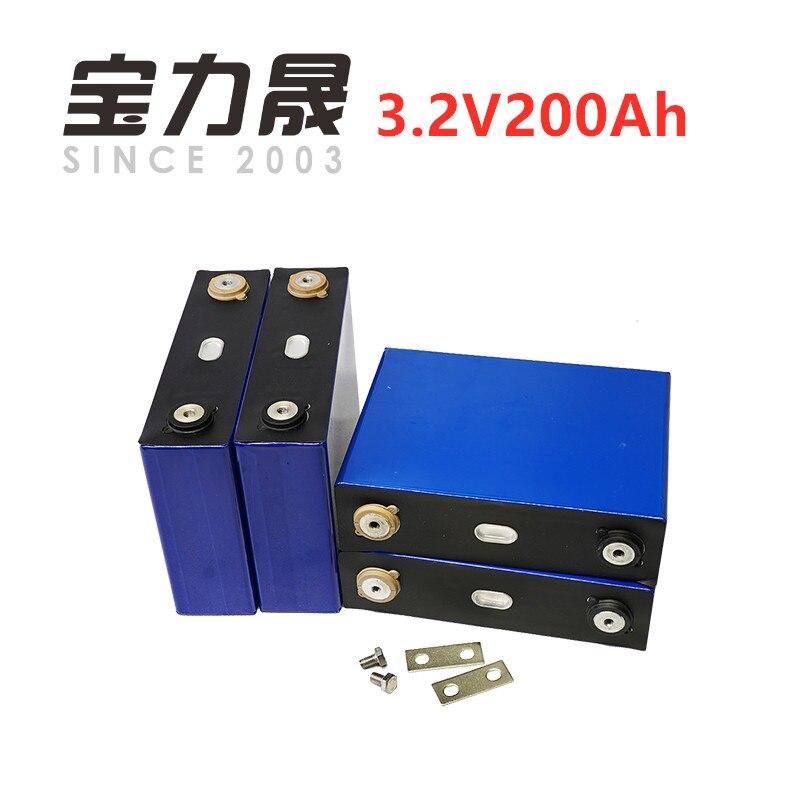 4 unids/lote de ciclo profundo prismático 3,2 V 200AH 3C LiFePO4 batería para Solar energía larga vida 3500 ciclos para poder sistema de UPS supply