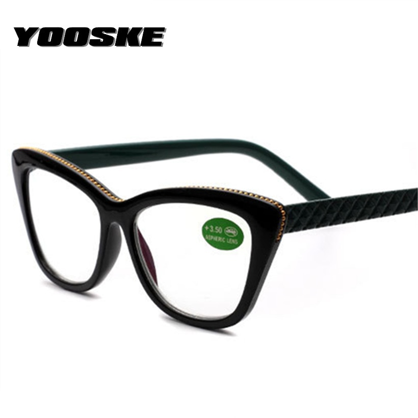 Gafas de lectura tipo ojo de gato YOOSKE, lentes de resina a la moda para mujer, gafas graduadas para hipermetropía + 1,0 1,5 2,0 2,5 3,0 3,5