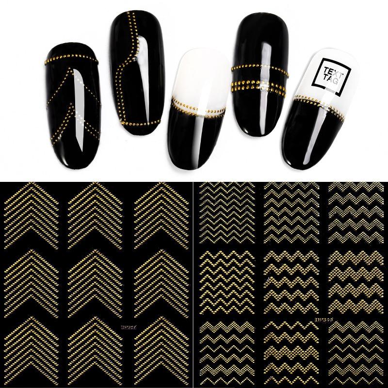 PinPai Metal dorado 3D pegatinas de uñas rayas línea de onda DIY Nail Art Sticker manicura adhesivo calcomanía agua Slide pegatinas para puntas de uñas