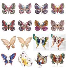 Fashion Enamel Animal Vlinder Broches Crystal Insect Broche Pins Voor Vrouwen Sieraden Bruiloft Bijoux Gift