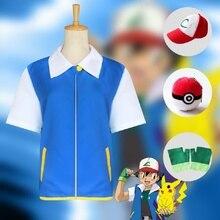 Anime Pokemon Cosplay Ash Ketchum Cosplay Costume bleu veste chapeau gants boule de poing ensemble complet Costumes dhalloween