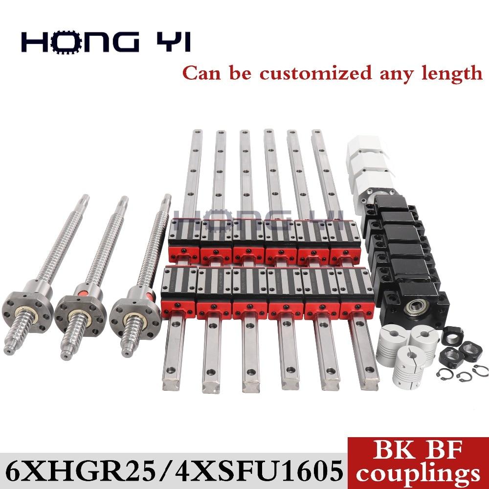 100% такой же HIWIN линейный рельс HGR25 линейная направляющая Любая длина + линейные блоки подшипников + SFU1605 шариковый винт + BK12/BF12 + DSG16H + муфта