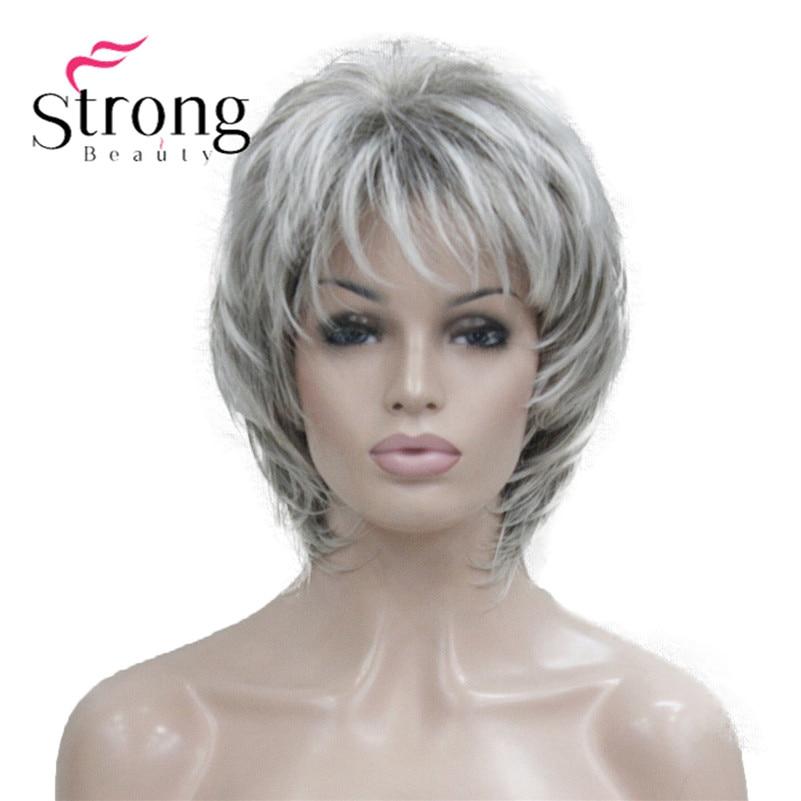StrongBeauty, короткий Мягкий Лохматый многослойный серебристый микс, Классическая Кепка, полный синтетический парик, женские парики, цвета блонд на выбор