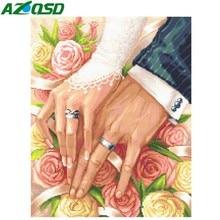 AZQSD 다이아몬드 페인팅 전체 디스플레이 꽃 로즈 DIY 다이아몬드 자수 모자이크 결혼 반지 라인 석 그림 벽 예술 사랑 선물