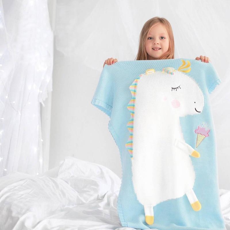 Manta de unicornio, manta tridimensional con orejas, manta tejida para niños, Alfombra de playa, manta de bebé BK009