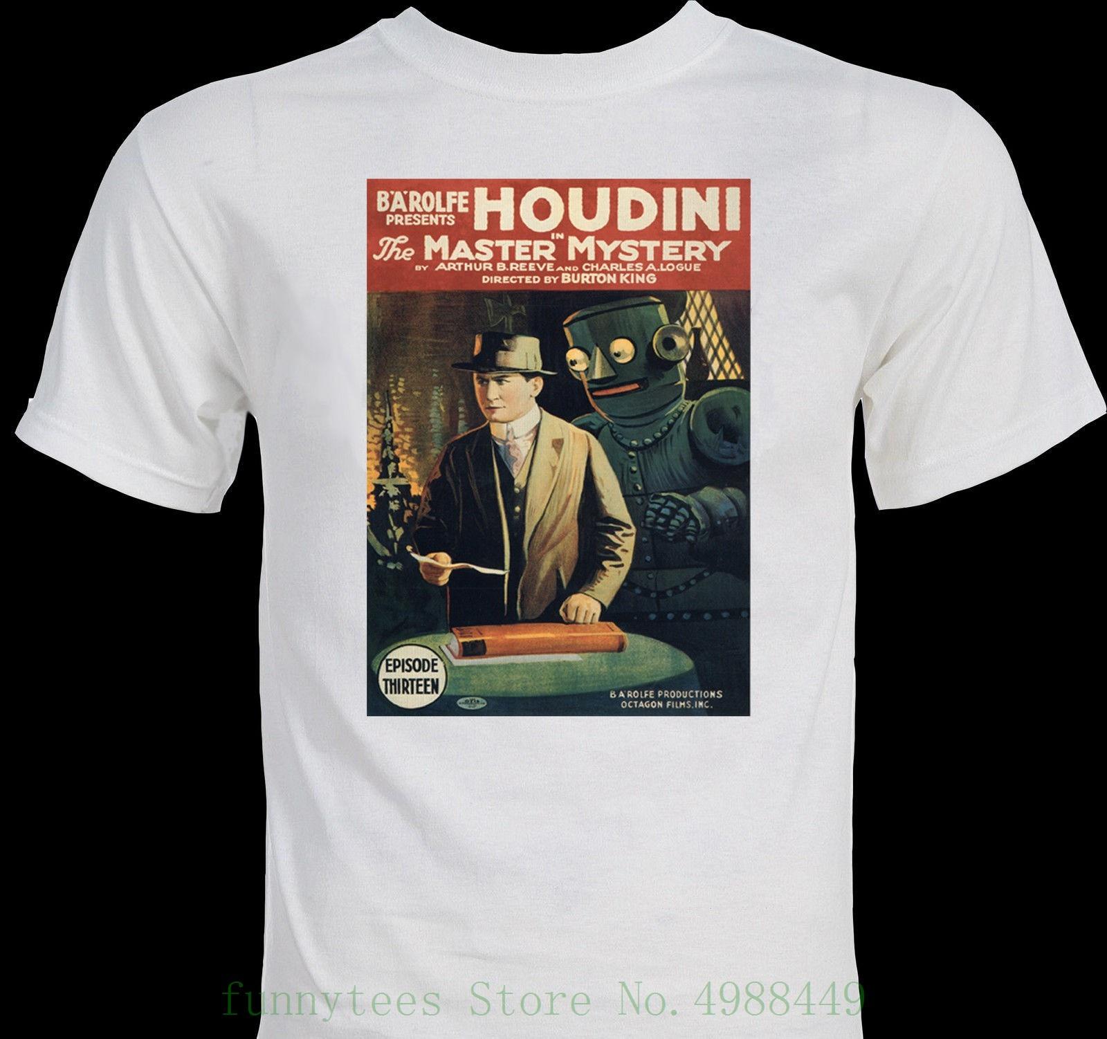 Camiseta rara Houdini 19, póster de película magia mago, camiseta de manga corta, cuello redondo, regalo Simple