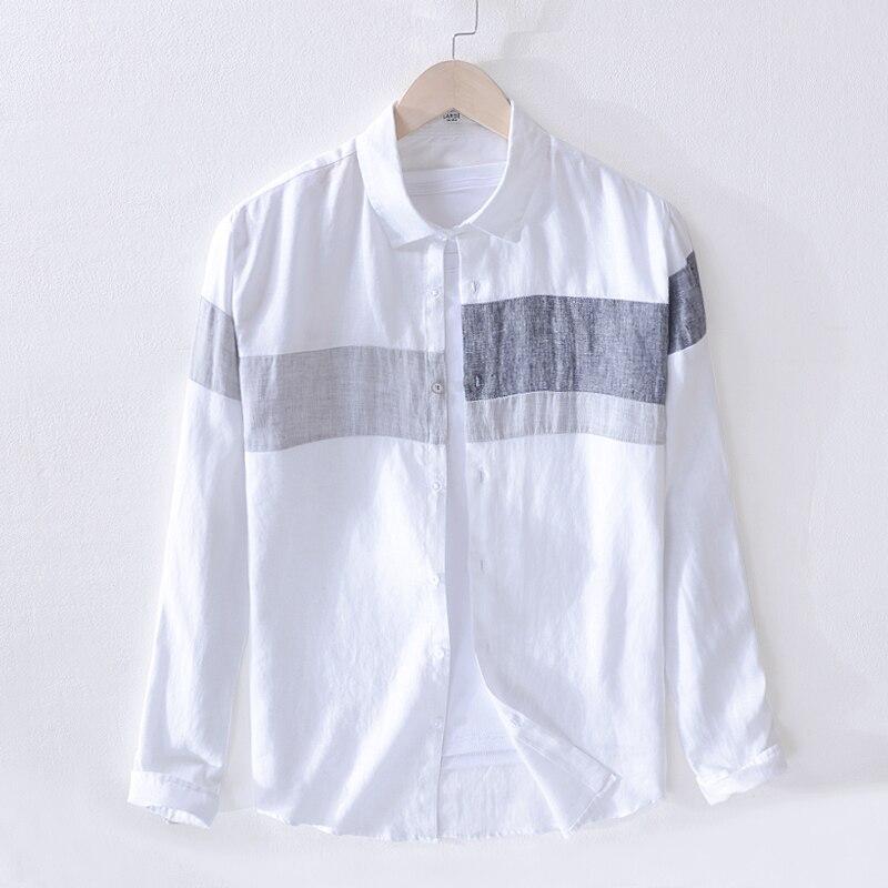 قميص رجالي كتان 2019 ، كاجوال ، عصري ، ياقة مربعة ، أكمام طويلة ، عصري ، ربيع 100%