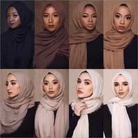 wholesale price 170*68cm women muslim crinkle hijab scarf femme musulman soft cotton headscarf islamic hijab shawls and wraps