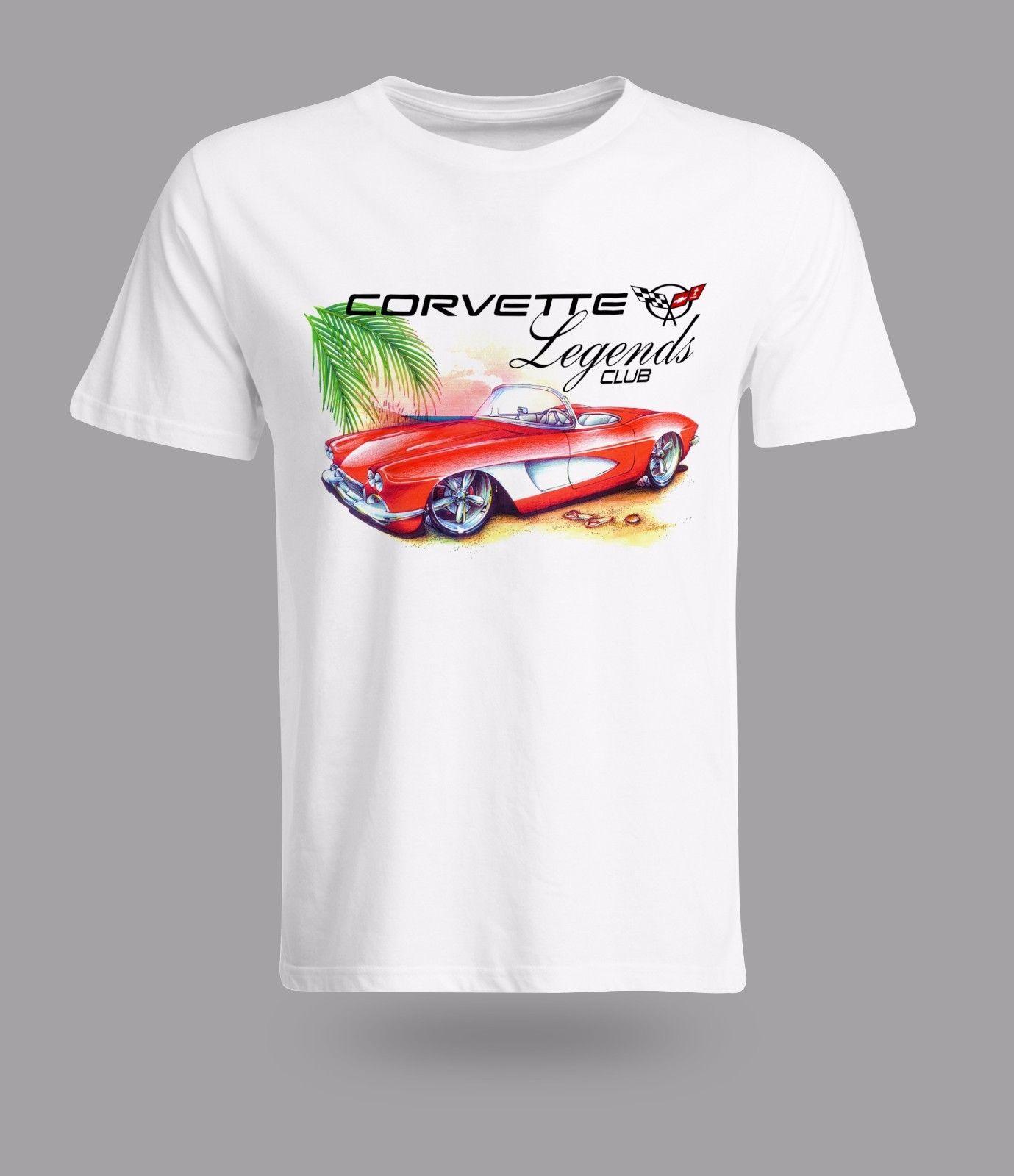 Vintage coche americano Chevrolet Corvette Roadster leyenda hombres camiseta impresa
