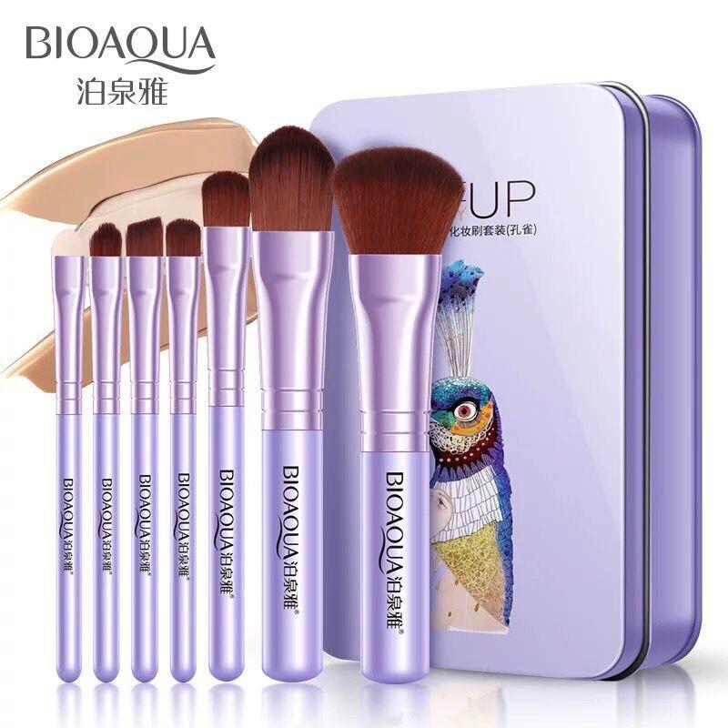BIOAQUA 7 Uds Pro cepillos de base de polvo sombra de ojos maquillaje cepillo Set herramienta corrector cosmético Kit delineador de ojos pinceles de maquillaje