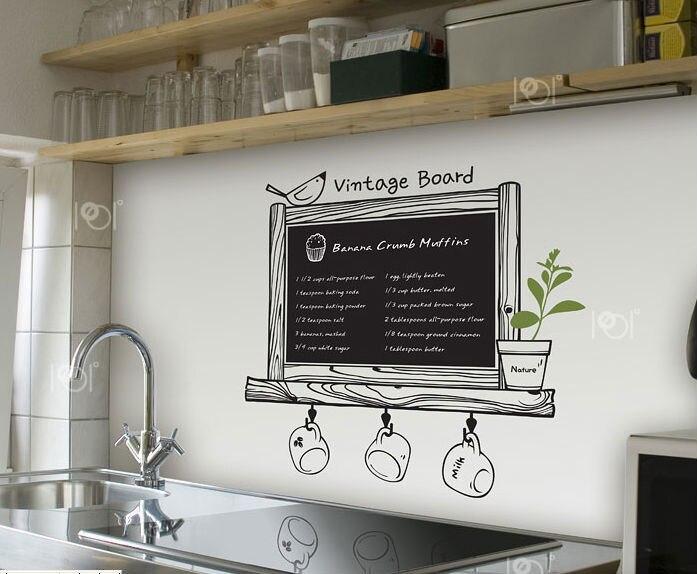 Modern romantik mutfak kara tahta çıkartması Blackboard çıkarılabilir su geçirmez vinil duvar sanatı yapışkanı mutfak duvar dekor