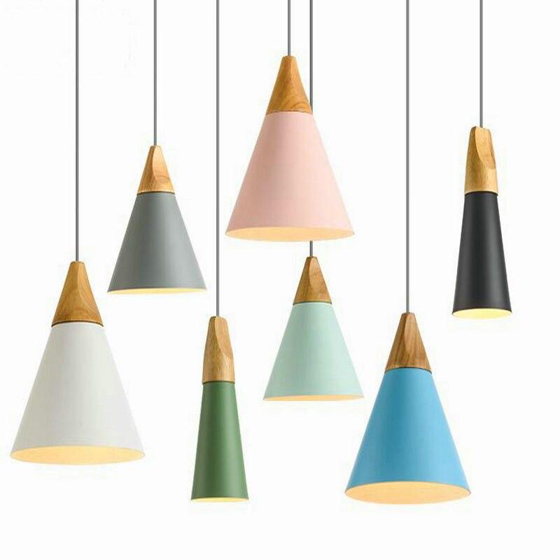 Nordic Pendant Light Wood Aluminum Lampshade Industrial Lighting Loft Lamparas Colorful drop lamp E27 3W led Light Fixtures