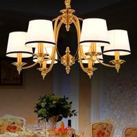 Luxury 3/6/8 Bulbs Vintage Retro Chandelier Light Fixture Fabric Shade Suspension Lamp Hanging Lighting For Living Room PL471