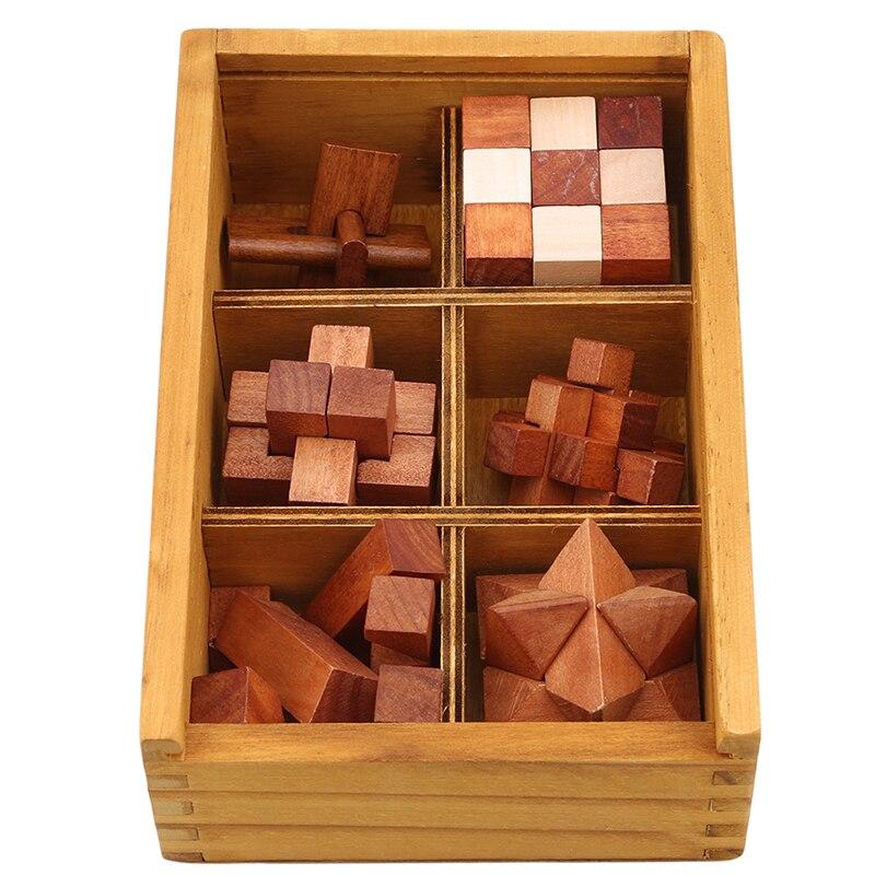 Juguete de madera Kong Ming Lock para niños, adultos, niños, triangulación de envío, rompecabezas IQ, rompecabezas de rebabas entrelazadas