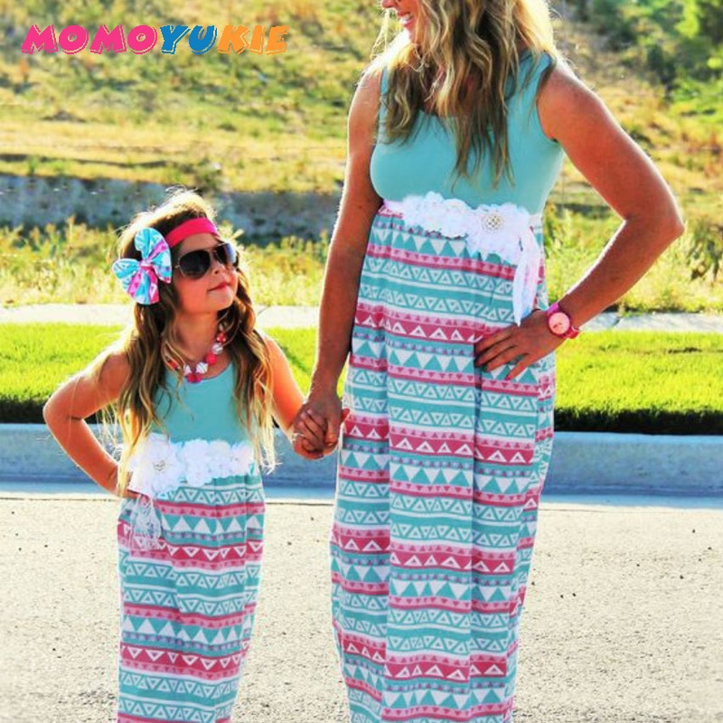 2018 Mommy and me family matching mother daughter dresses clothes striped mom dress kids parent child outfits