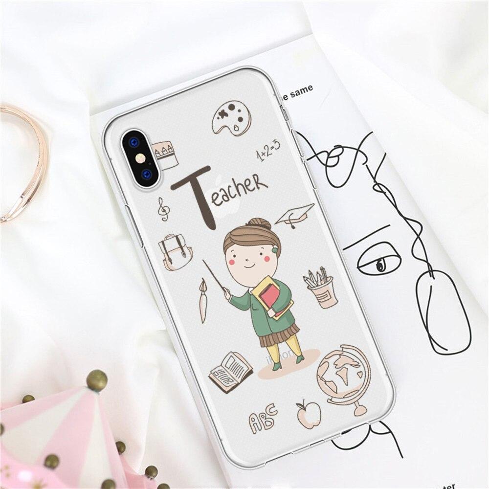 Funda de teléfono suave dibujo bonito profesional profesor Coque para iPhone 5 6 6S X XR Plus funda para iPhone 7 Plus 8