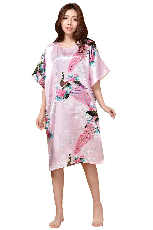 Plus Size Pink Summer Women's Robe Bathrobe Sleepwear New chinese Female Rayon Bath Gown Nightgown Sleepshirts Mujer Pijama 002