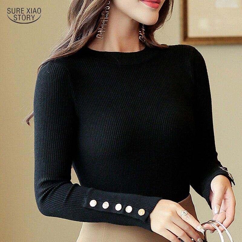 New Black Outono Elasticidade Damasco Verde Camisola do Sexo Feminino Casual Manga Comprida Pullovers Mulheres Camisolas de Gola Alta de Malha 5034 50