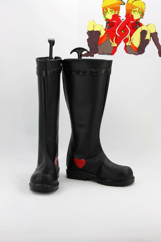 De negro y rojo Len y Rin zapatos botas de vocaloid Cosplay