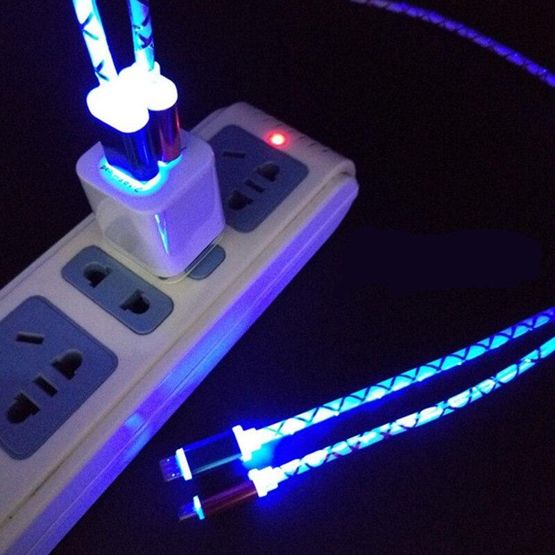 Colorido 5V luz LED luz Micro USB adaptador para cargador de cable para Samsung Huawei Android Oppo HTC LG Android Teléfono carga adaptadores