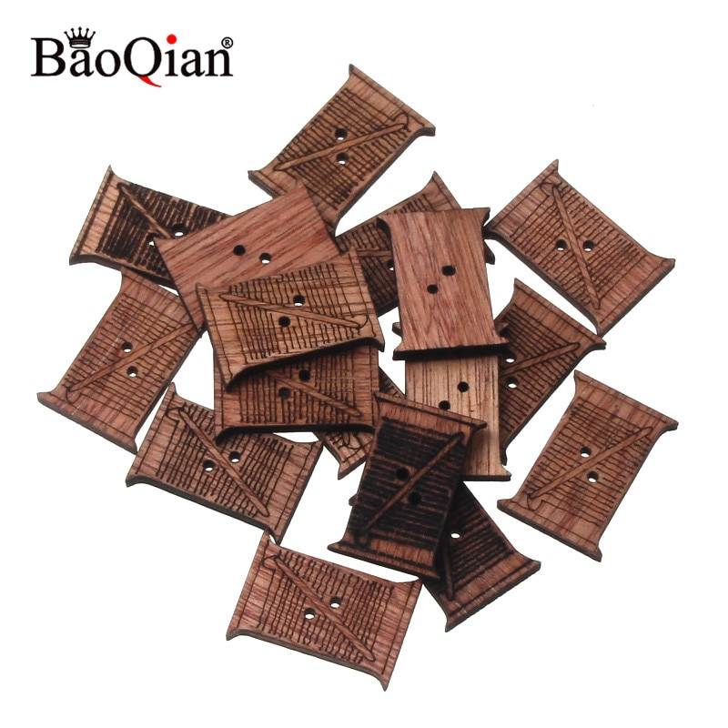 Herramientas de tejido de 20 piezas, álbum de recortes de madera Natural, artesanía de madera DIY para accesorio hecho a mano, decoración para el hogar, 30x21mm