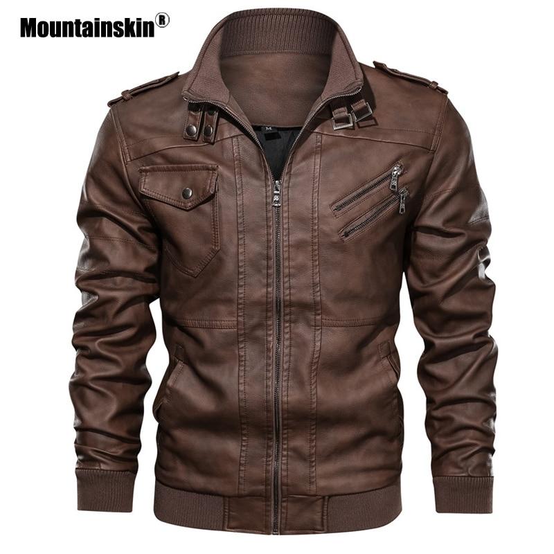 Мужские кожаные куртки Mountainskin, кожаные повседневные Мотоциклетные Куртки из искусственной кожи, байкерские куртки европейского размера, ...