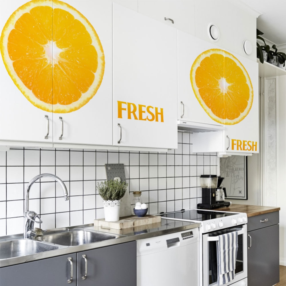 fashion FRESH warm color Orange diy home kitchen girls room decor wall sticker removable store shop kitchenware mural
