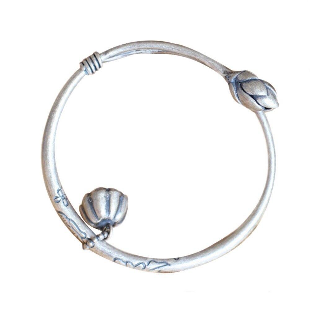Jade Engel Sterling Silber Frauen Armreif Manschette Armband Eingraviert Wasser Lilie Blume Vintage-Schmuck Weihnachten Geschenke Geburtstag Geschenke
