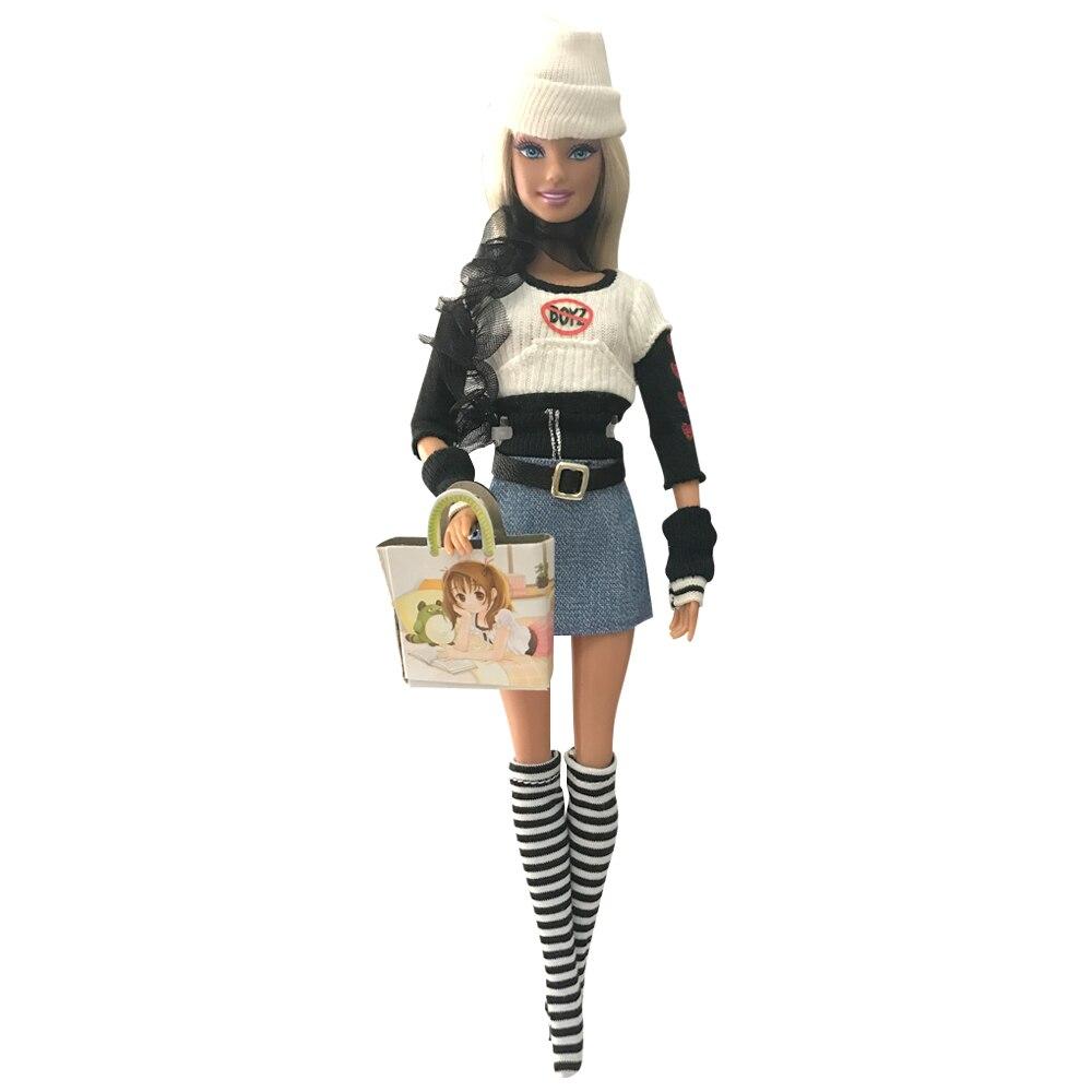 NK un set de ropa para muñeca princesa traje de moda Pantalones de abrigo de invierno bufanda sombrero bolso de Barbie muñeca mejor regalo