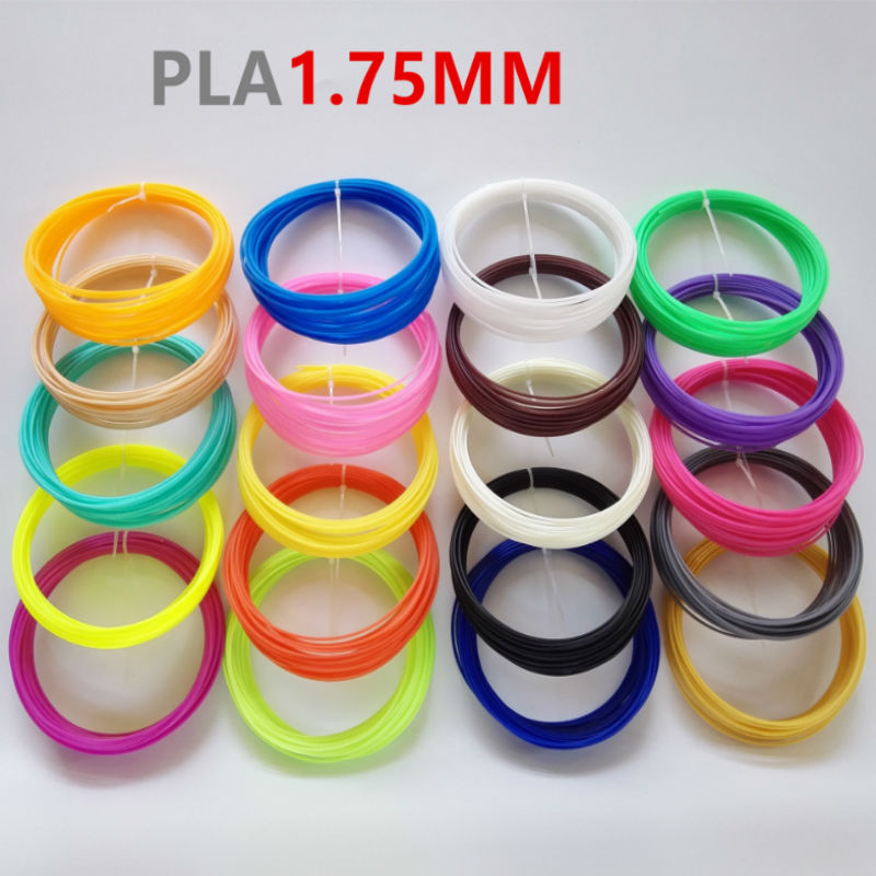 5 colores (10 metros/color) 1,75mm PLA material de impresión 3D filamento especial para pluma 3D suministros de impresora al azar envío gratis