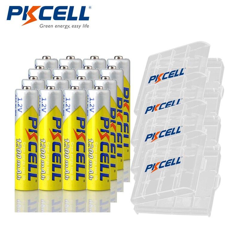 16Pcs * PKCELL AAA Batterie 1,2 V Ni-Mh aaa Akku Batterien 1200MAH mit 4PC Batterie Halten fall Box für aa/aaa batterie