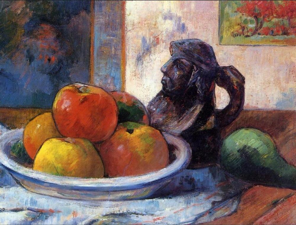 Lienzo de pintura al óleo de alta calidad reproducciones Naturaleza muerta con manzanas, pera y un Portra de cerámica de Paul Gauguin pintado a mano