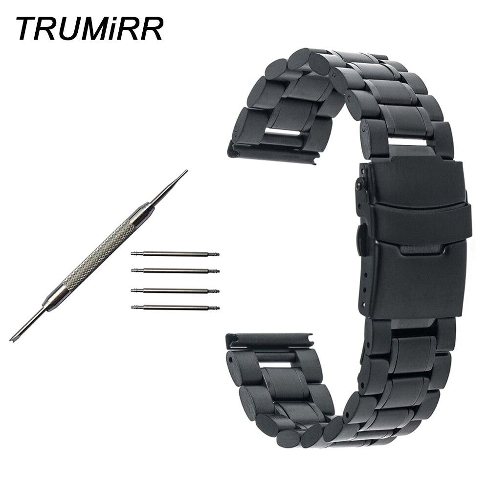 Correa de reloj de acero inoxidable con hebilla de seguridad para Diesel para hombres y mujeres, pulsera de eslabones de muñeca, negro, dorado, plateado, 20mm, 22mm y 24mm