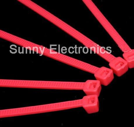"1000 Uds 6 ""pulgadas 150mm X 2,5mm Cable rojo tirantes auto bloqueo Nylon brida de Cable"
