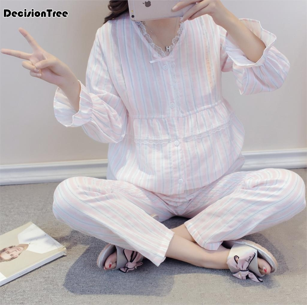 Cotton Maternity Women Pajamas Sets Sleepcoat Pregnancy Nightdress Pregnant Lace Design Nursing Set For Pregnant Woman Clothes enlarge