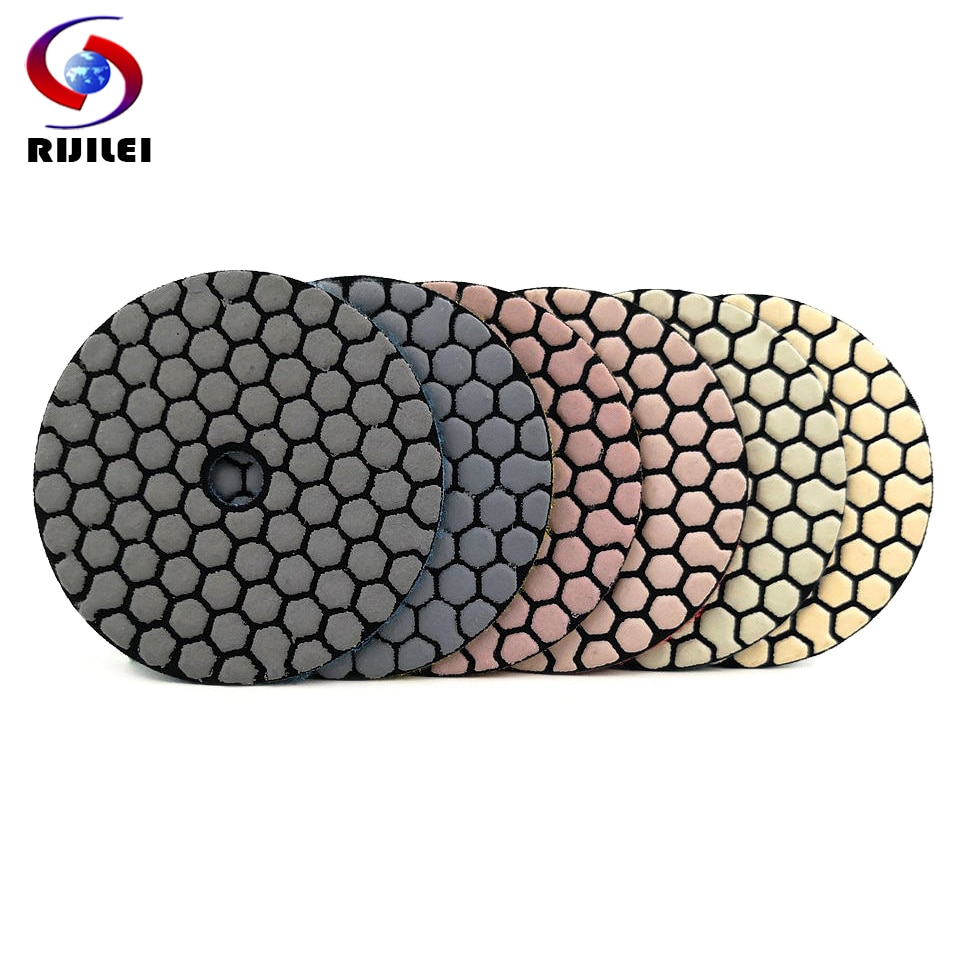 """RIJILEI 6Pcs/Set 3""""/4"""" Dry polishing pad Sharp type Flexible diamond polishing pad For Granite Marble Stone Sanding Disc ZJ08"""
