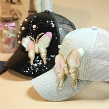 Luxury Women Baseball Cap Brand Bling butterfly Pearl Sequins Hip Hop Cap Vintage Snap Back Design Cap Casual Snapback Hat New