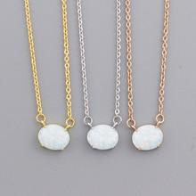 Collier opale rond délicat bijoux en pierre pierre de naissance éthiopienne colliers ras du cou cadeaux pour femmes Collier Femme