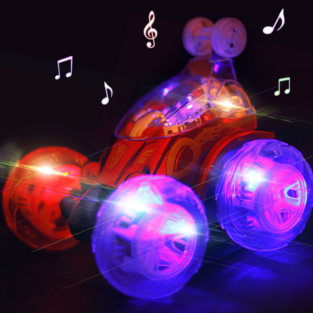 RC coche Dancing Robot truco Tumbling USB recargable luz intermitente Twister música eléctrica regalo niños juguete 360 grados Flip Turbo