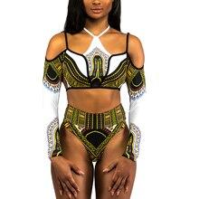 Africano Dashiki Imprimir Tanga Swimwear Das Mulheres de Biquíni de Cintura Alta Biquíni Maiô de Manga Comprida 2018 Plus Size Off Ombro Fatos de banho