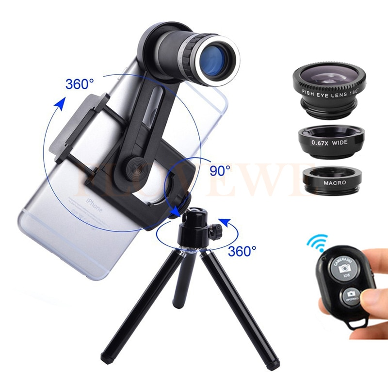 8X lente Zoom teleobjetivo telescopio microscopio Macro con Clip trípode gran angular Fisheye Lentes para iPhone 5 5C 5S iPhone 6 6 S 7