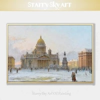 gifted artist hand painted high quality st petersburg oil painting on canvas beautiful snow landscape russian city oil painting