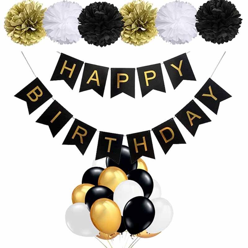 Баннер воздушный шар бумага цветок 16th 18th 21st 30th 40th 50th 60th взрослый ребенок мальчик девочка с днем рождения украшение фон фото оба