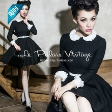 Le Palais Vintage Zwarte Lange Mouw Mini Jurk Solid Peter Pan Kraag Vrouwen Geplooide Swing Korte Jurk Vestidos Robe Femme