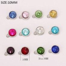2019 extensible fil anneau bracelet 10MM cristal strass pierre de naissance pendentif mélange 12 couleurs X 5 pièces chaque couleur pendentif